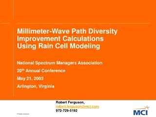 Millimeter-Wave Path Diversity Improvement Calculations Using Rain Cell Modeling