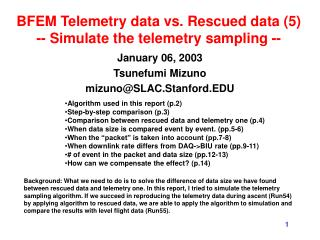 BFEM Telemetry data vs. Rescued data (5) -- Simulate the telemetry sampling --