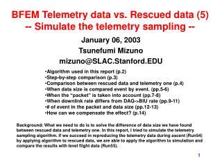 BFEM Telemetry data vs. Rescued data (5) -- Simulate the telemetry sampling --