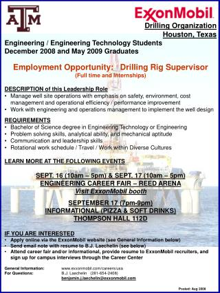 Drilling Organization Houston, Texas Engineering / Engineering Technology Students