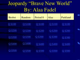 "Jeopardy ""Brave New World"" By: Alaa Fadel"