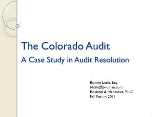 The Colorado Audit  A Case Study in Audit Resolution