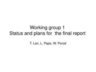 T. Lari, L. Pape, W. Porod