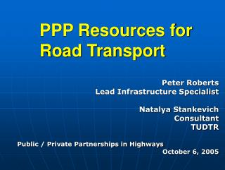PPP Resources for Road Transport