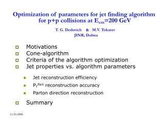 Motivations Cone-algorithm Criteria of the algorithm optimization
