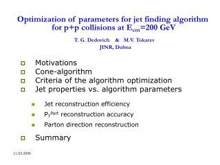 Motivations Cone-algorithm Criteria of the algorithm optimization
