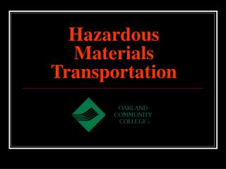 Hazardous Materials Transportation
