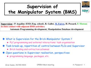 Supervision of the Manipulator System (BMS)