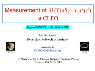 Measurement of  B  ( ? (nS)  ? ? + ? ? ) at CLEO