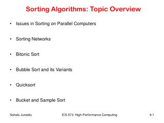 Sorting Algorithms : Topic Overview