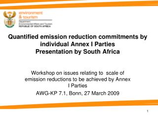 Workshop on issues relating to  scale of emission reductions to be achieved by Annex I Parties