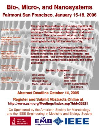 Abstract Deadline October 14, 2005 Register and Submit Abstracts Online at