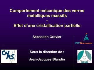 Comportement mécanique des verres métalliques massifs - Effet d'une cristallisation partielle