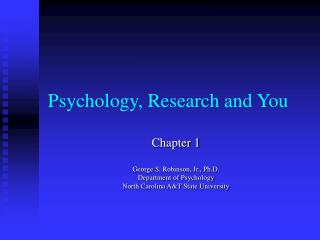 Psychology, Research and You