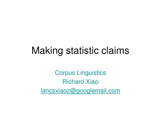 Making statistic claims