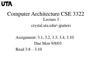 Computer Architecture CSE 3322