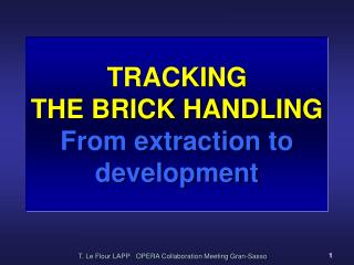 TRACKING  THE BRICK HANDLING From extraction to development