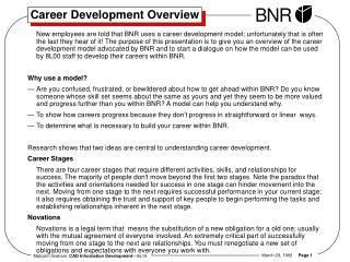 Career Development Overview