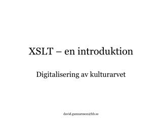 XSLT � en introduktion