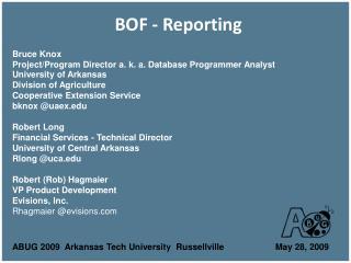 BOF - Reporting