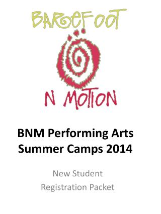 BNM Performing Arts Summer Camps 2014