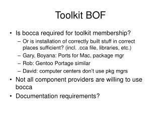 Toolkit BOF