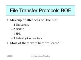 File Transfer Protocols BOF