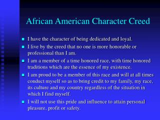 African American Character Creed