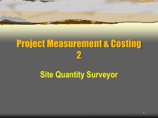 Project Measurement & Costing 2