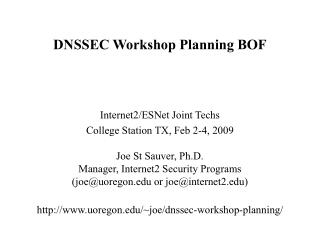 DNSSEC Workshop Planning BOF