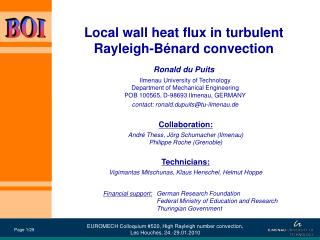 Local wall heat flux in turbulent  Rayleigh-Bénard convection