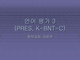 언어 평가  3 (PRES, K-BNT-C)