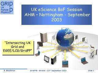 UK eScience BoF Session  AHM – Nottingham - September 2003
