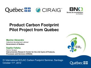 Product Carbon Footprint Pilot Project from Québec