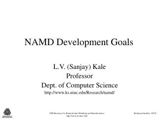 NAMD Development Goals