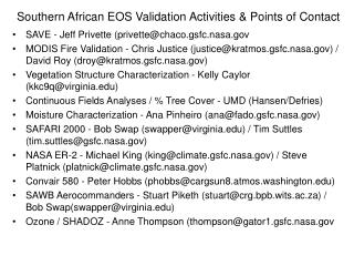 Southern African EOS Validation Activities & Points of Contact