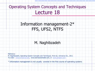 Operating System Concepts and Techniques  Lecture 18