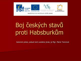 Boj českých stavů proti Habsburkům