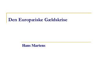 Den Europæiske Gældskrise