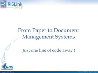From Paper to Document Management Systems