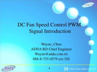 DC Fan Speed Control PWM  Signal Introduction