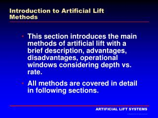 Introduction to Artificial Lift Methods