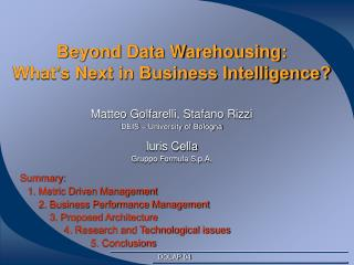 Beyond Data Warehousing: What's Next in Business Intelligence?