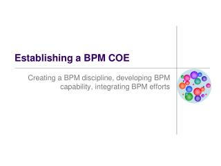 Establishing a BPM COE