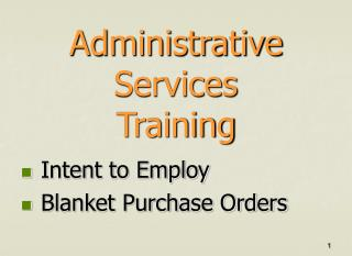 Administrative Services          Training