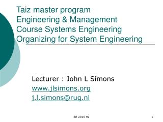 Taiz master program  Engineering  Management Course Systems Engineering  Organizing for System Engineering