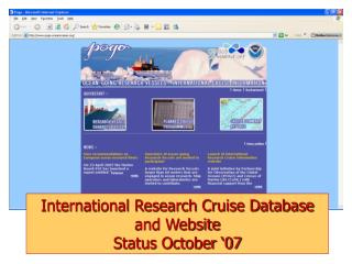 International Research Cruise Database and Website  Status October '07