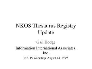 NKOS Thesaurus Registry Update
