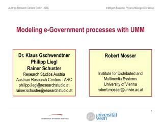 Modeling e-Government processes with UMM