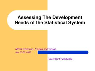 Assessing The Development Needs of the Statistical System